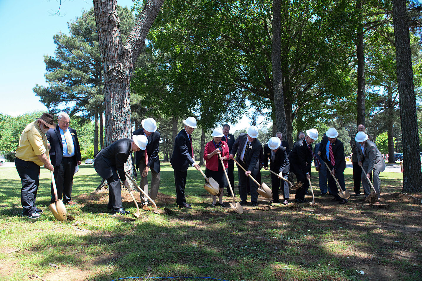This is a photo of Harding Academy breaking ground on their new building project.