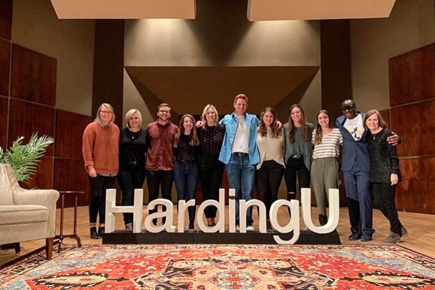 This is a photo of Communication studies students after an event they hosted at Harding University.