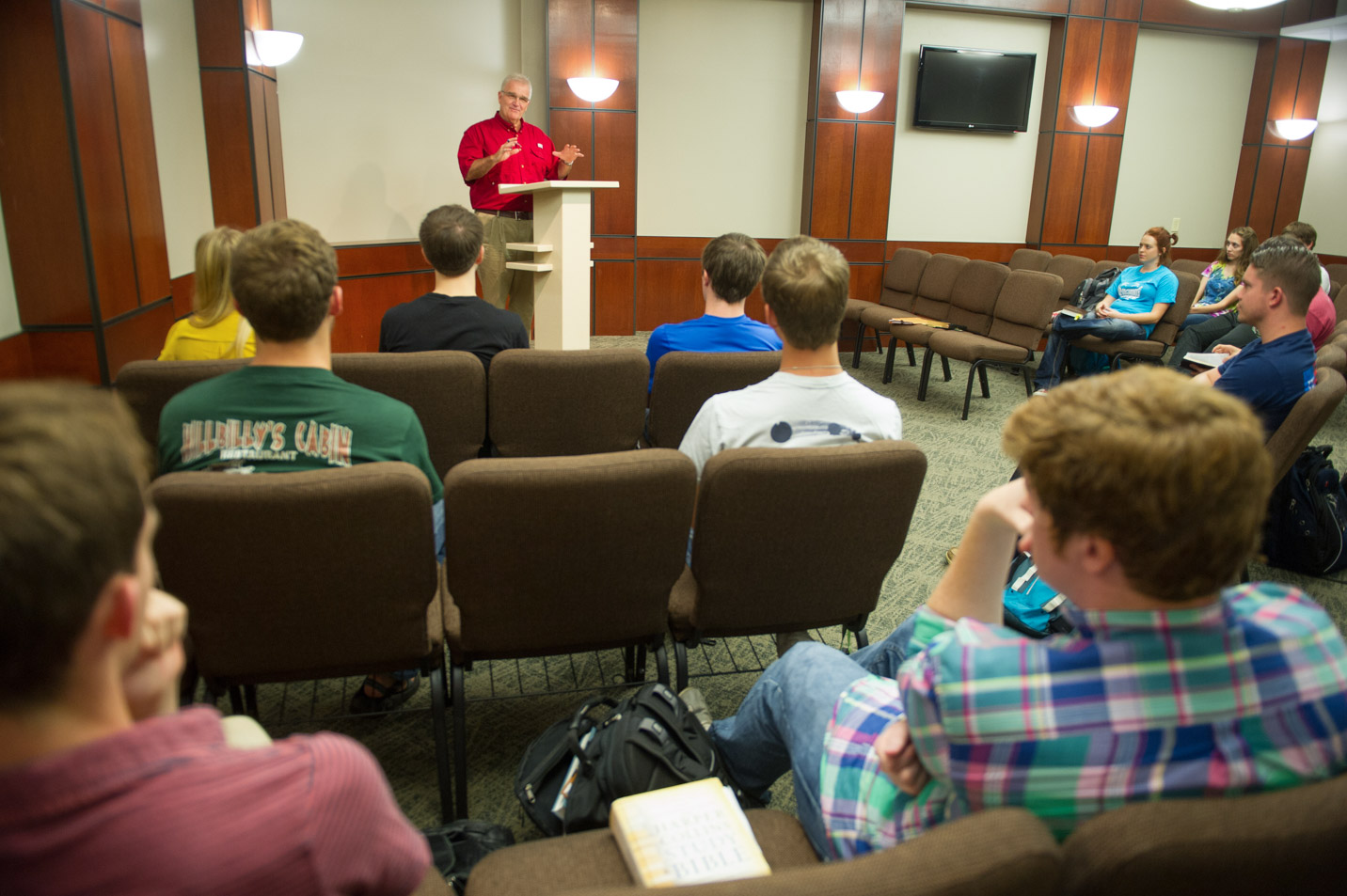 This is a photo taken in the preaching studio at Harding University.