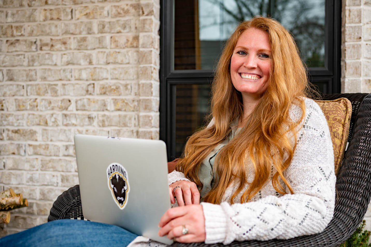 This is a photo of a student in an online Harding master's program through the College of Business.