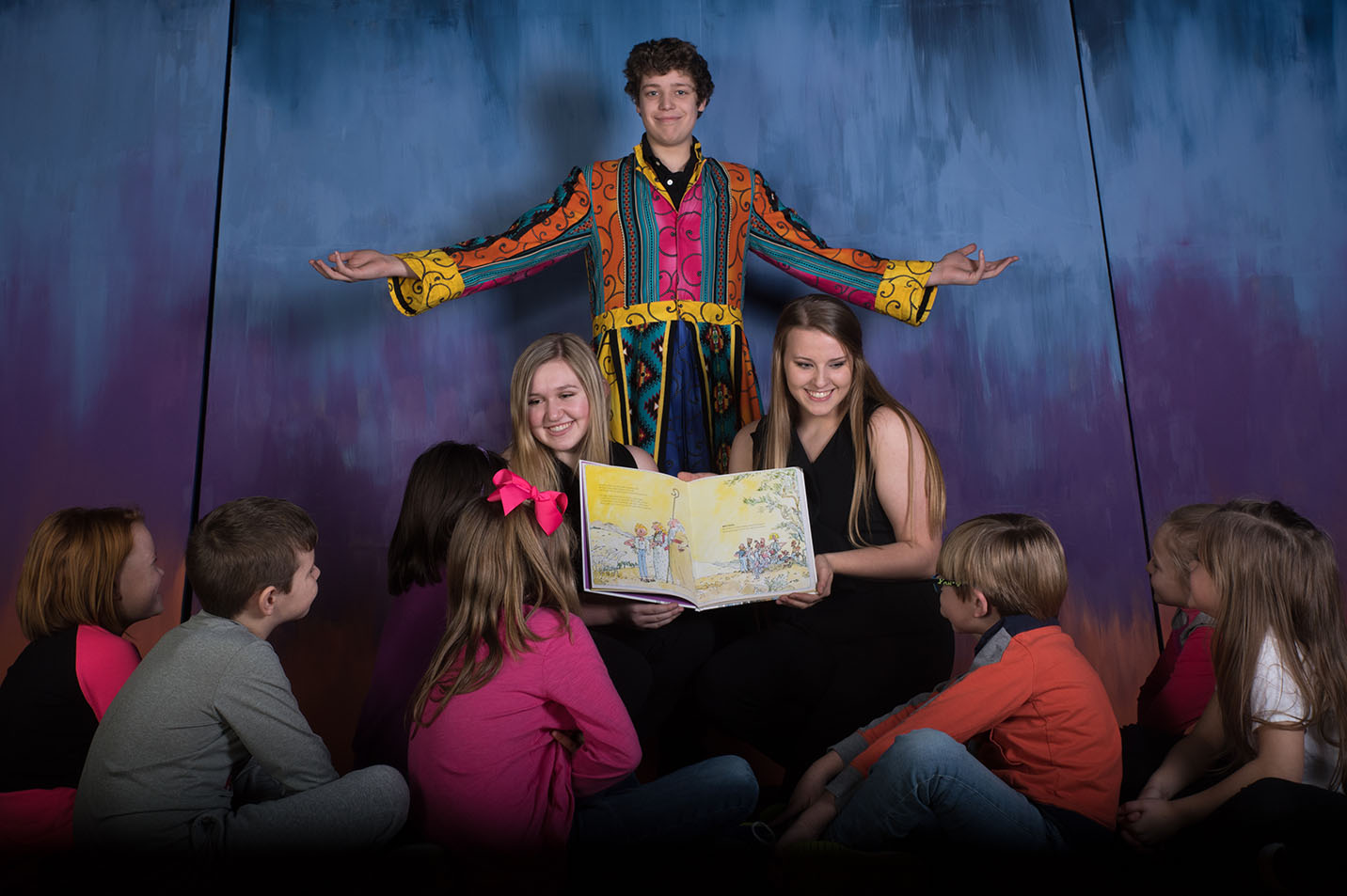 This is a photo of featured students in Joseph and the technicolor dream coat.