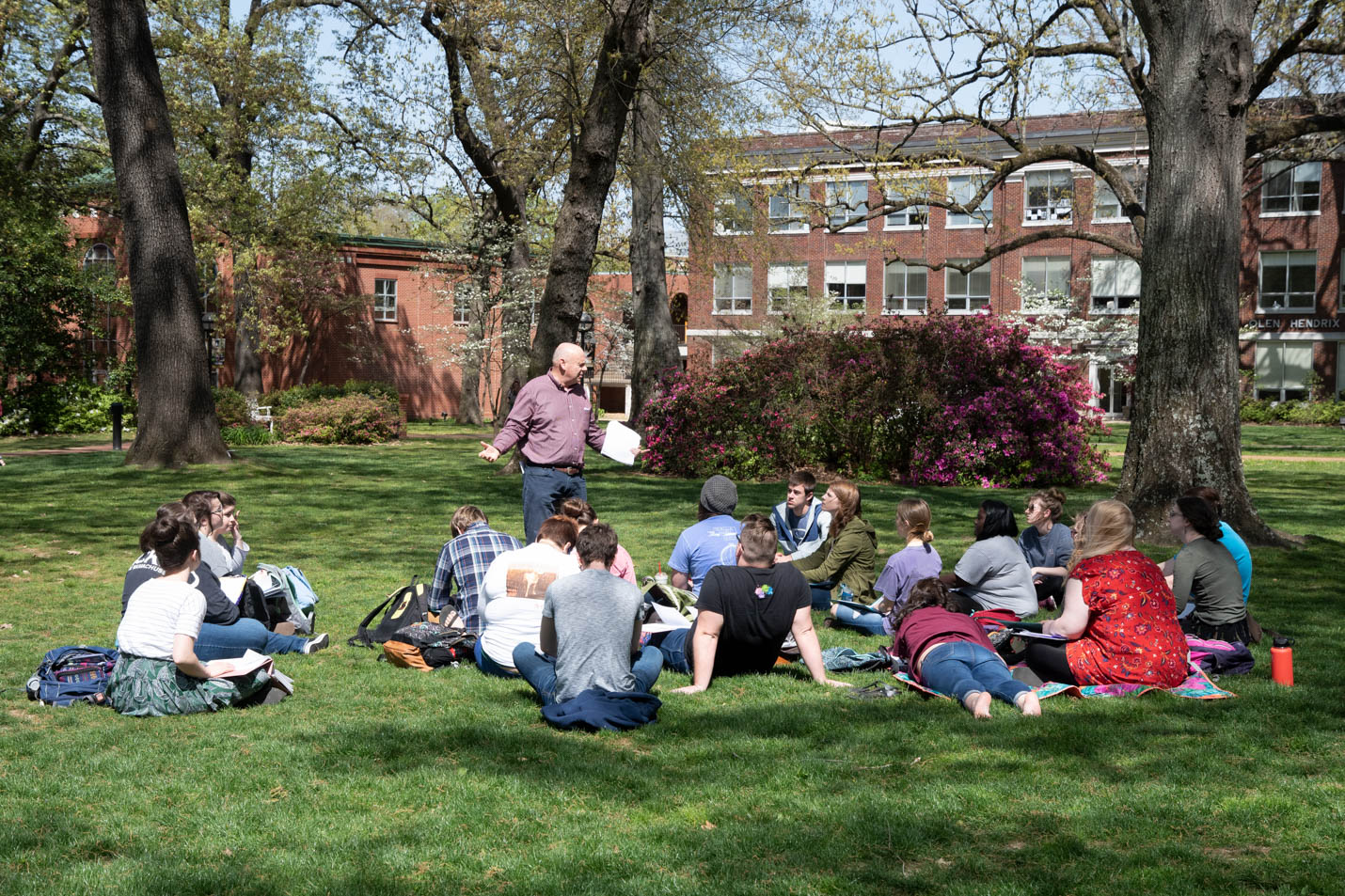 This is a photo of students in Dr. Cochran's class on the Front Lawn.