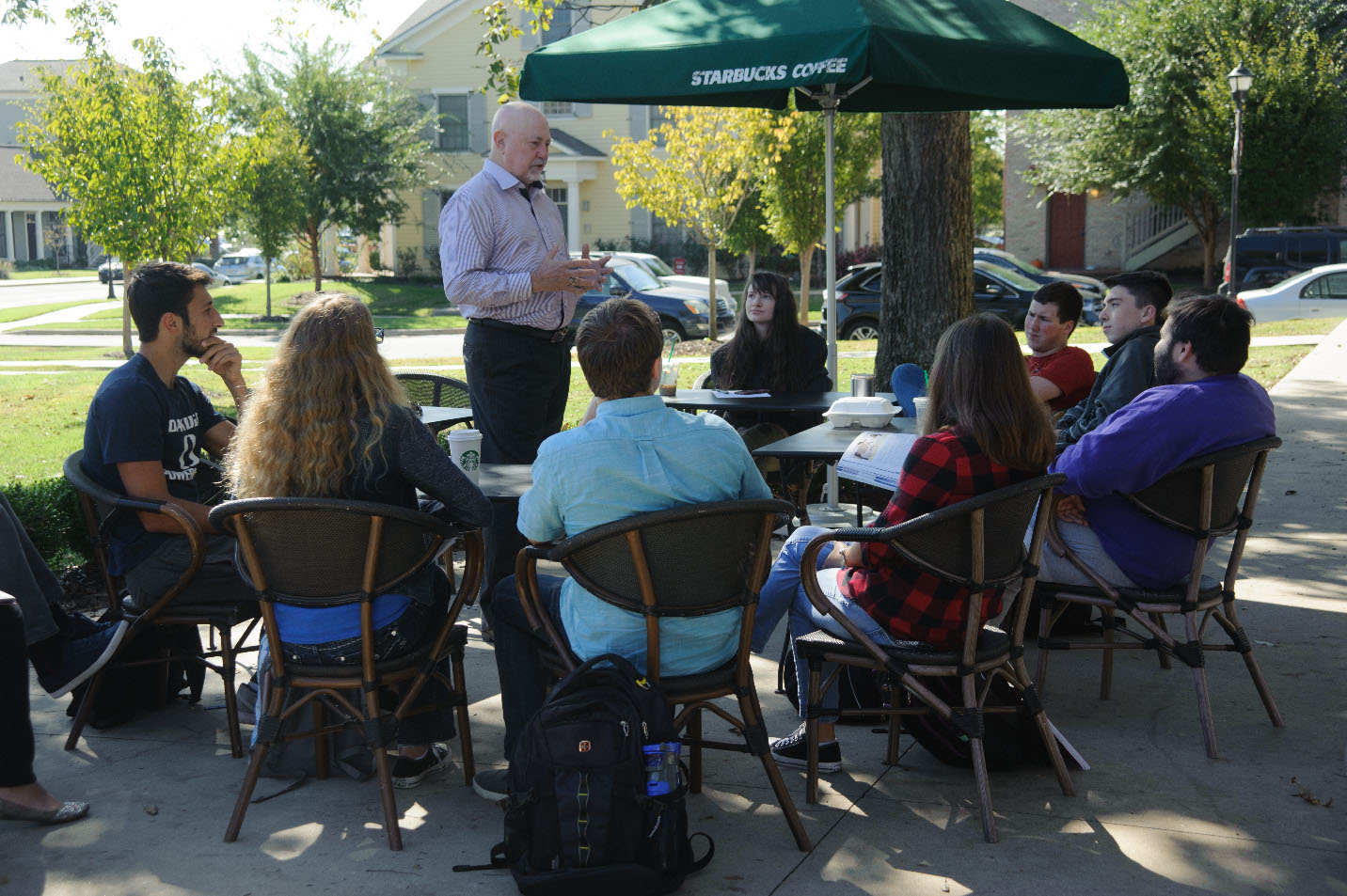 This is a photo of Dr. Mike James teaching with students.