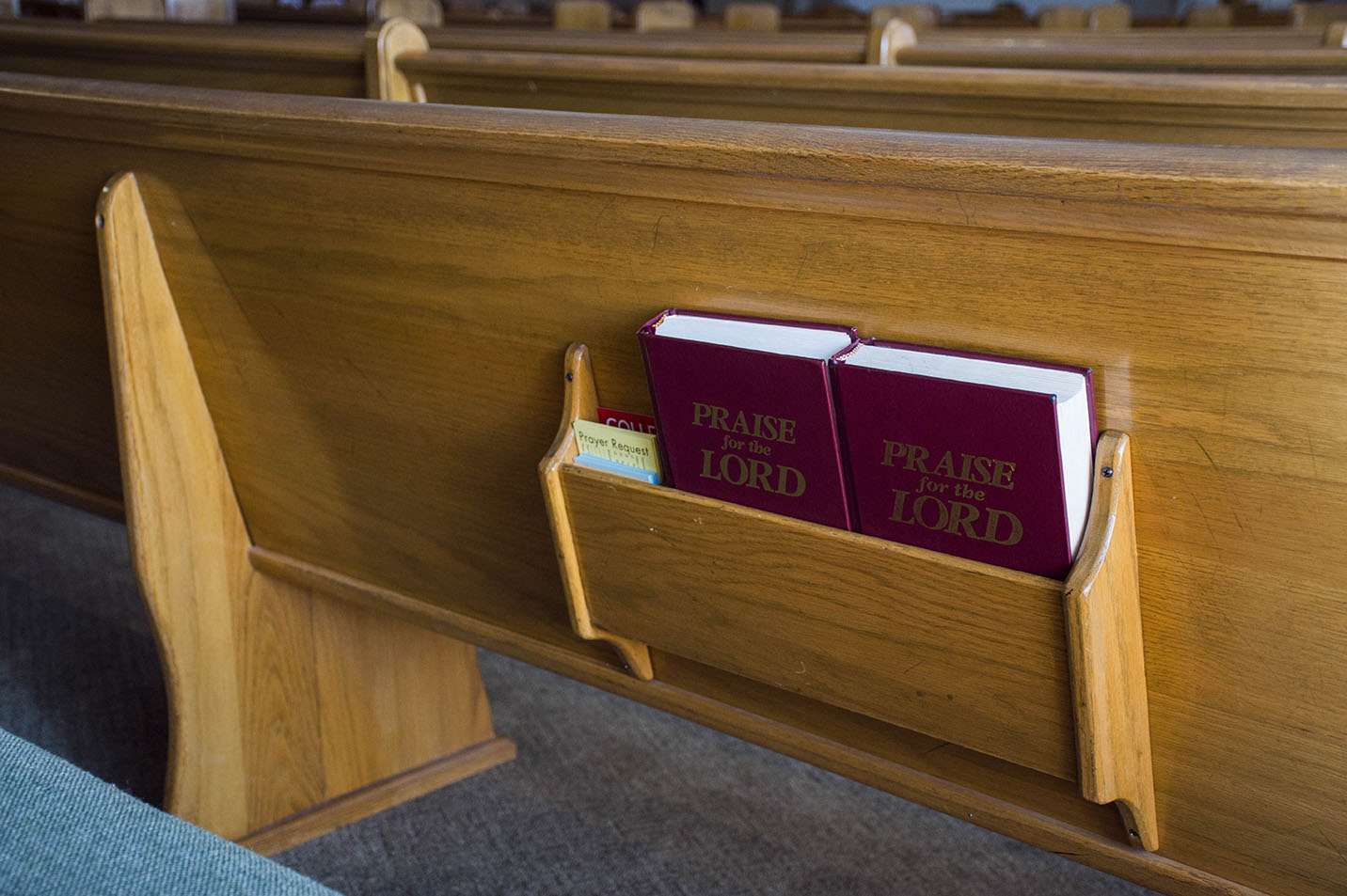 This is a photo of songbooks in a shelf behind a church pew.